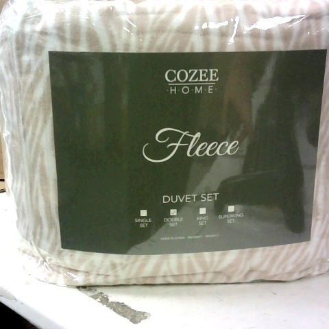 COZEE HOME ANIMAL PRINT FLEECE DUVET SET - KING