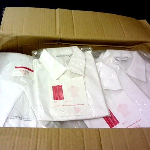 LARGE QUANTITY OF WHITE GIRLS POLO SHIRTS IN VARIOUS SIZES