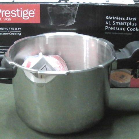 PRESTIGE - SMART PLUS - 4L PRESSURE COOKER - NON STICK - STAINLESS STEEL - SILVER