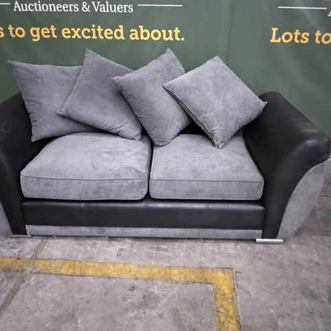 DESIGNER BLACK FAUX LEATHER & GREY FABRIC TWO SEATER FIXED SOFA WITH SCATTER BACK CUSHIONS