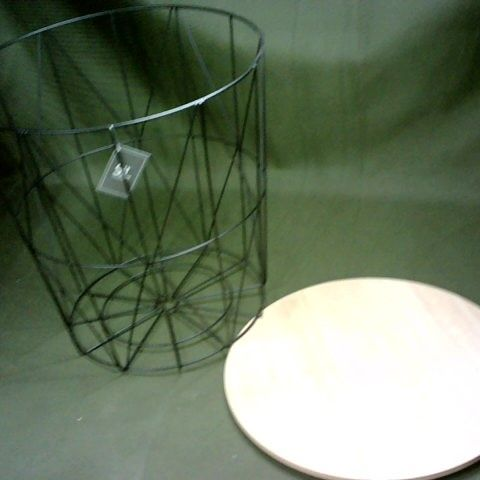 WIRE METAL WOOD TOPPED SIDE TABLE