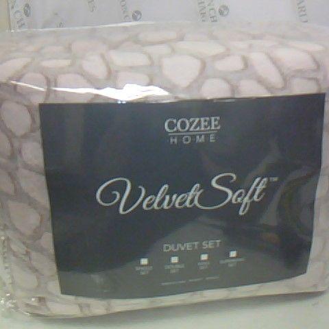COZEE HOME VELVET SOFT DUVET SET DOUBLE PINK