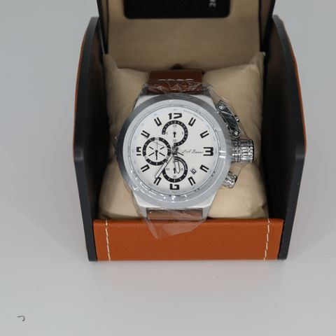 BRAND NEW BOXED MEN'S LA BANUS CHRONOGRAPH WATCH, SCREW IN CROWN. BROWN LEATHER STRAP