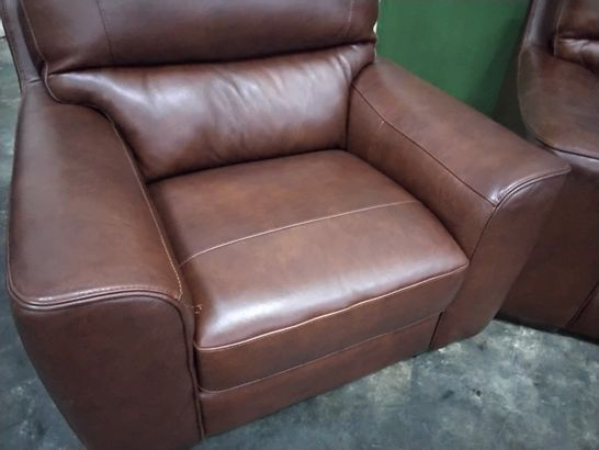 QUALITY ITALIAN DESIGNER PRATO CHESTNUT LEATHER FIXED LOUNGE SUITE, COMPRISING THREE SEATER SOFA, PAIR EASY CHAIRS & FOOTSTOOL