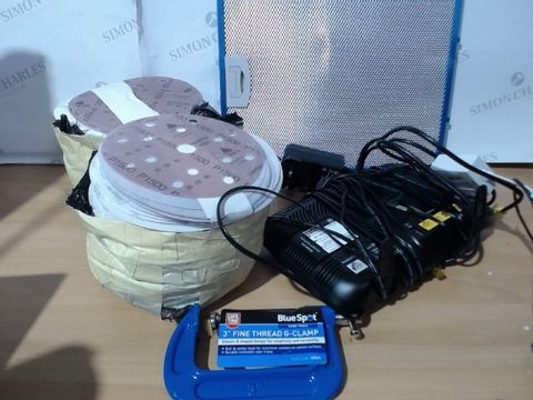 "MEDIUM LOT OF ASSORTED HOUSEHOLD ITEMS TO INCLUDE: EXTRACTOR FAN FILTER, BT HUB, PACK OF P1500 SANDPAPER, 3"" FINE THREAD G-GLAMP HAND TOOL ETC"