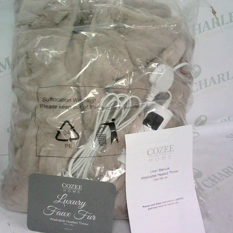 COZEE HOME LUXURY FAUX FUR HEATED THROW - LIGHT TAUPE
