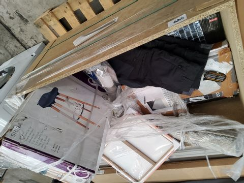 PALLETOF ASSORTED ITEMS INCLUDING SHIRA BARSTOOL,ANDRANO TOILET SEAT, MOSAIC TILEX, EINHELMWORK TABLE, SITE WORK TROUSERS,WATER SOFTENER CRYSTALS.
