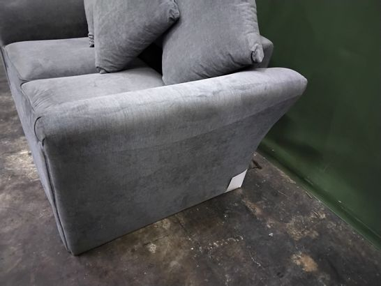 DESIGNER GREY FABRIC FIXED TWO SEATER SOFA WITH SCATTER CUSHIONS