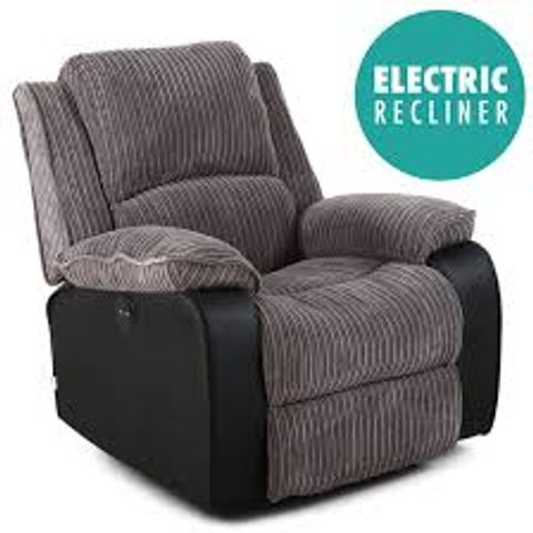 BOXED POSTANA GREY LEATHER & FABRIC POWER RECLINING EASY CHAIR (1 BOX)