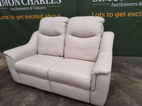 QUALITY G PLANFIRTH OXFORD CHALK LEATHER FIXED TWO SEATER SOFA