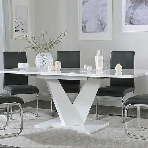 BOXED DESIGNER TURIN WHITE HIGH GLOSS 160-200cm EXTENDING DINING TABLE (3 BOXES)