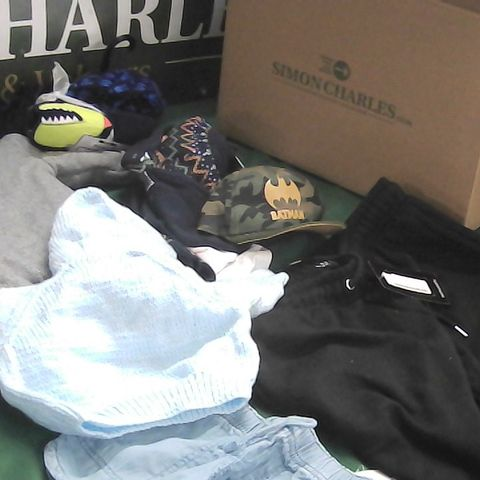 BOX OF ASSORTED BOYS CLOTHING TO INCLUDE BABYGROW, BATMAN HAT, SHORTS