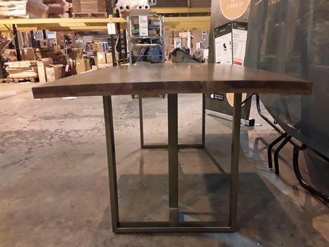 DESIGNER METAL FRAMED DINING TABLE WITH 177CM WOODEN TOP