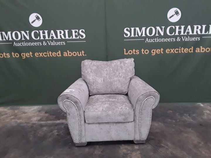 DESIGNER GREY FABRIC ARMCHAIR WITH STUD DETAIL