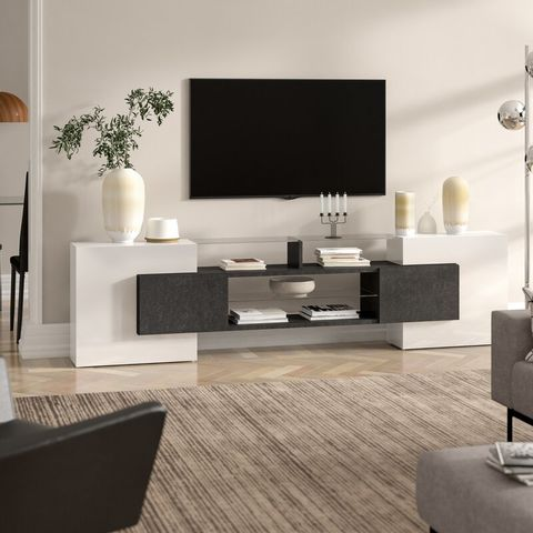 """BOXED ASSISTANT WHITE TV STAND FOR TVS UPTO 88"""" (2 BOX)"""
