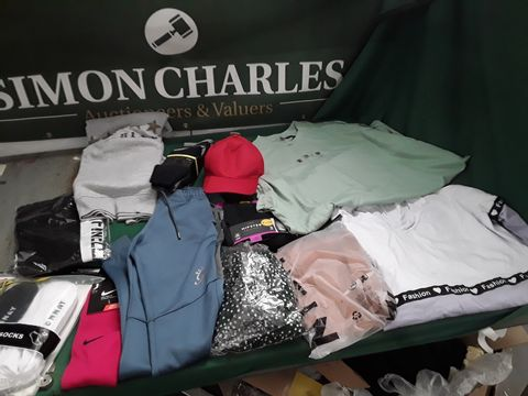 BOX OF ASSORTED CLOTHING TO INCLUDE: DONNAY SOCKS, GEORGE HIPSTER TRUNKD, GYM KING TRACKSUIT BOTTOMS ETC