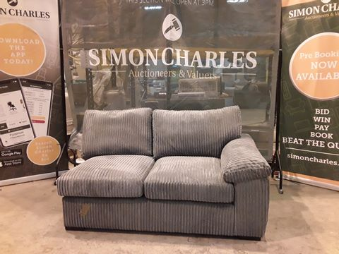 DESIGNER GREY LINED FABRIC SOFA SECTION