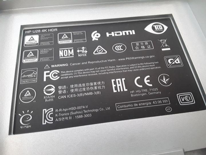HP U28 28 INCH 4K LED MONITOR