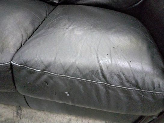 DESIGNER BLACK FAUX LEATHER FIXED SCROLL ARM TWO SEATER SOFA
