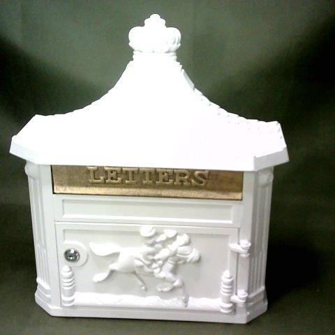 WHITE METAL LOCKABLE DECORATIVE LETTER BOX