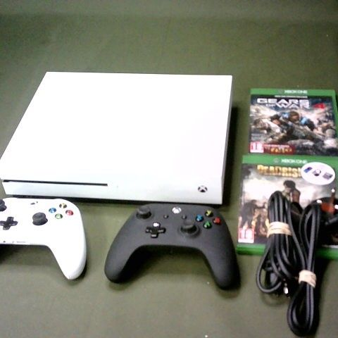 XBOX ONE S GAMES CONSOLE WITH TWO CONTROLLERS AND TWO GAMES - DEADRISING AND GEARS OF WAR 4