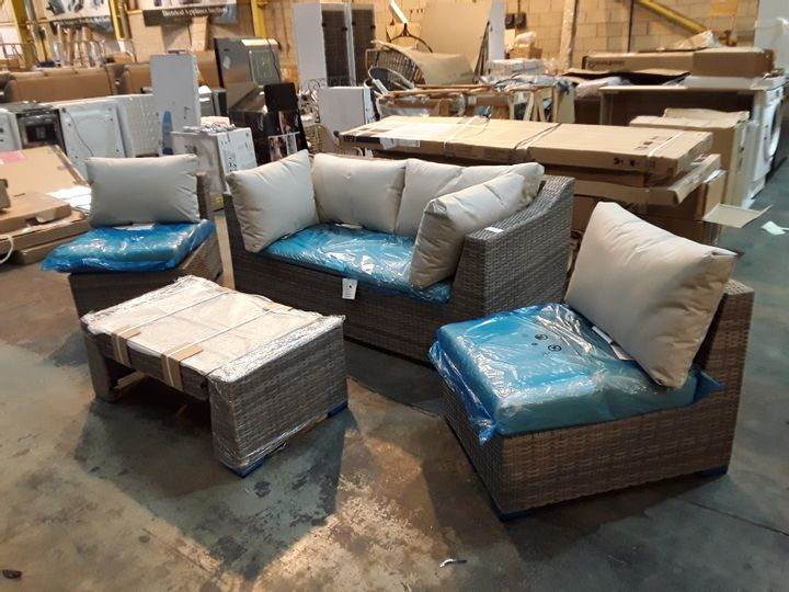 DESIGNER RATTAN STYLE GARDEN SOFA, TWO SINGLE SEATS AND GLASS-TOPPED COFFEE TABLE