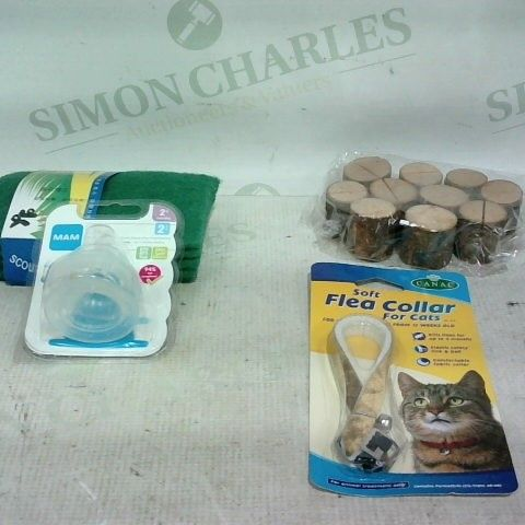 LOT OF APPROX. 20 ASSORTED ITEMS TO INCLUDE: PACKETS OF SCOURING PADS. SOFT FLEA COLLAR FOR CATS, TEAT 2+ MONTHS PACK 2