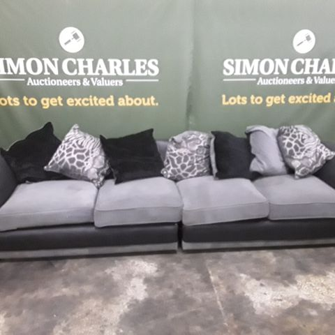 DESIGNER GREY AND BLACK FABRIC FOUR SEATER SOFA WITH SCATTER CUSHIONS