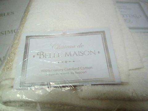 BELLE MANSION BATH TOWELS IN CREAM AND GOLD