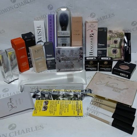 LOT OF APPROXIMATELY 25 ASSORTED DESIGNER COSMETIC ITEMS, TO INCLUDE DIOR, FENTY, BOBBI BROWN, HUDA BEAUTY, MAC, ETC