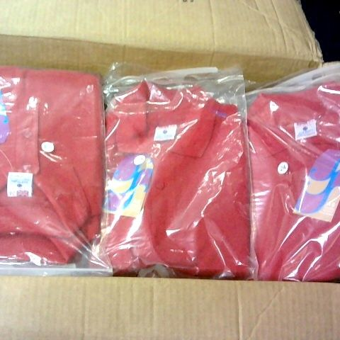 LOT 0F APPROXIMATELY 80 RED BOYS POLO SHIRTS IN VARIOUS SIZES