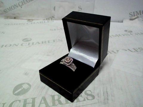 9CT WHITE GOLD 50 POINT DIAMOND SQUARE SET SPLIT SHOULDER BRIDAL SET OF TWO RINGS