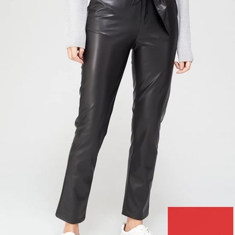 BRAND NEW FAUX LEATHER PAPERBAG WAIST SLIM LEG TROUSERS - BLACK SIZE 16