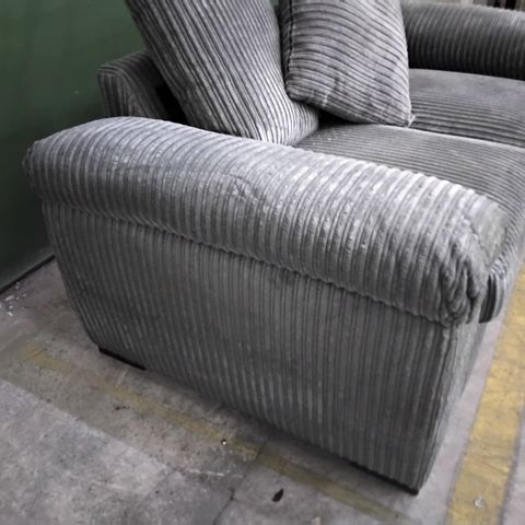 DESIGNER GREY JUMBO CHORD FIXED TWO SEATER SOFA WITH SCATTER BACK CUSHIONS