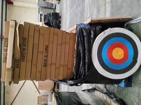 PALLET OF APPROXIMATELY 33 BOXED TRADITIONAL  ARCHERY TARGETS 80cm diam