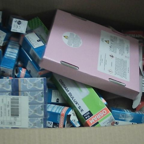 BOX OF ASSORTED LIGHT BULBS AND CANDLES