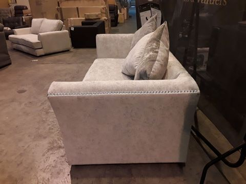 DESIGNER CHAMPAGNE FABRIC THREE SEATER S9FA SITH SCATTER BACK CUSHIONS