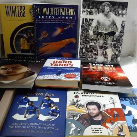 LOT OF APPROXIMATELY 10 ASSORTED SPORT RELATED HAR AND PAPERBACK BOOKS