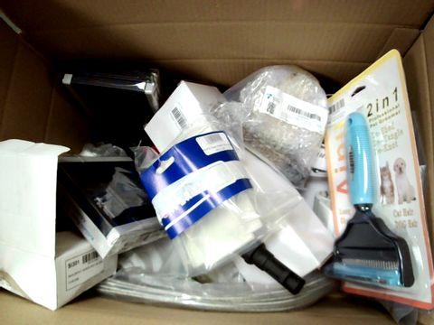 A MEDIUM BOX OF ASSORTED TOOLS AND PARTS