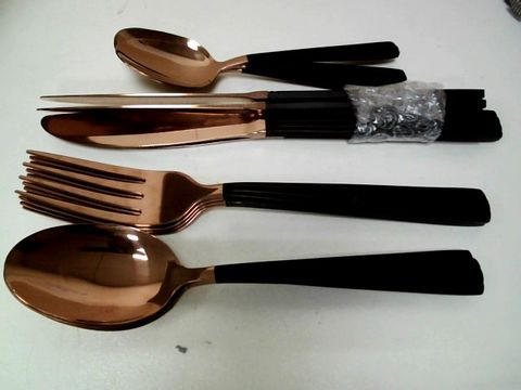 TOWER 16 PIECE CUTLERY SET, ELEGANT AND HIGH QUALITY STAINLESS STEEL, BLACK AND ROSE GOLD