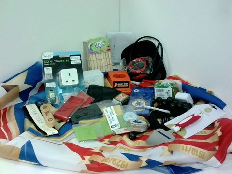 SMALL BOX OF ASSORTED HOMEWARE ITEMS TO INCLUDE SMART PLUG, PLANTRONICS HEADSET, CHEESE SLICER