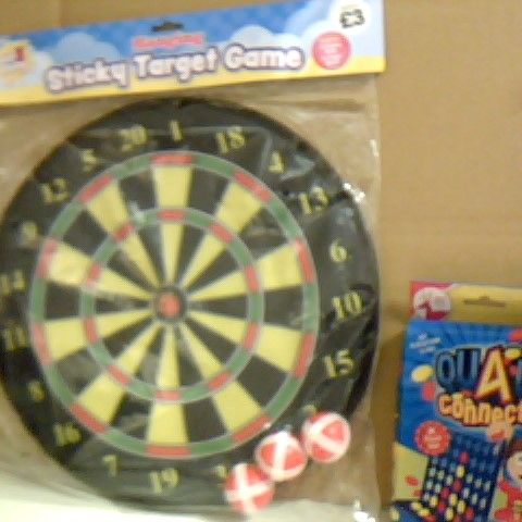 SELECTION OF FAMILY GAMES INCLUDING STICKY TARGET GAME, DECK OF CARDS AND UNO