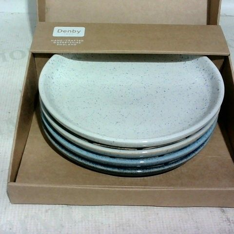 DENBY 1809 - HAND CRAFTED IN DERBYSHIRE ENGLAND  - COLLECTION OF 4 PLATES IN BOX