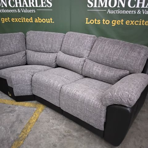 TWO CORNER GROUP SECTIONS, BLACK FAUX LEATHER  & GREY FABRIC- MANUAL RECLINING
