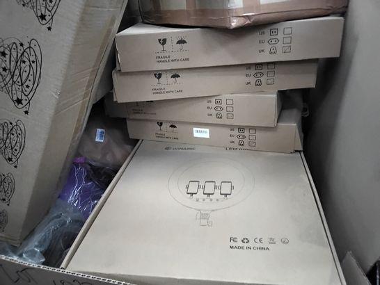 PALLET OF ASSORTED ITEMS INCLUDING CHRISTMAS TREES, LED RING LIGHTS, PLASTIC PLANTERS, MESH WASTE BIN,
