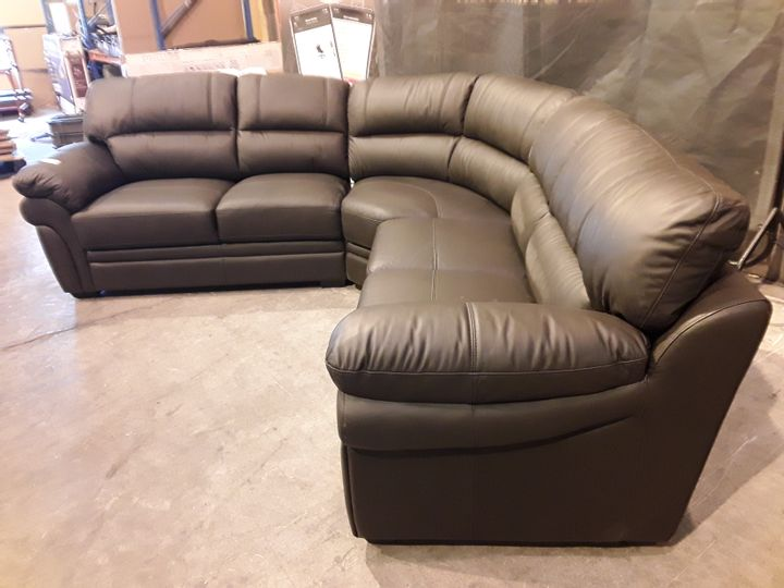 DESIGNER DARK BROWN FAUX LEATHER CORNER SOFA