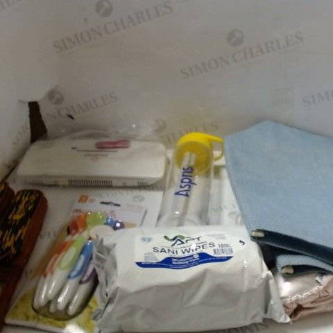 LARGE BOX A SIGNIFICNAT QUANTITY OF ASSORTED HOUSEHOLD ITEMS TO INCLUDE; BAGS, KIDS UTENSILS, SANI WIPES ETC