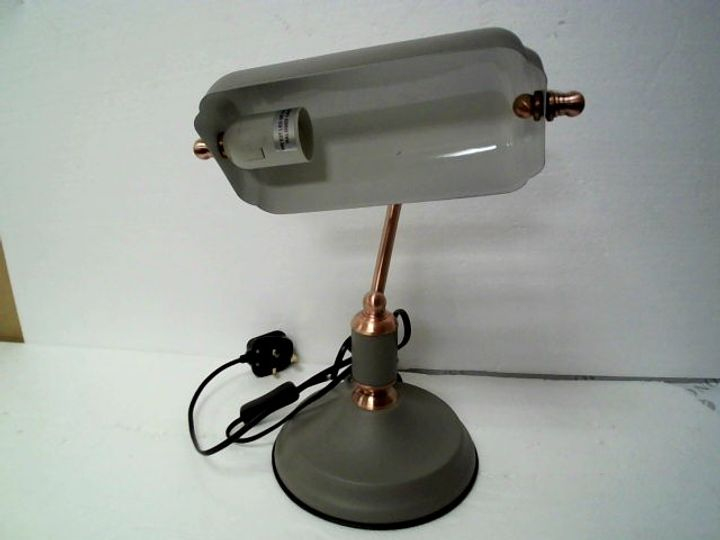 LLOYTRON 35w 'Emperor' Bankers Lamp with Polished Copper Effect - Matt Finish - in Line Switch - Retro Antique Design - L1161GC - Sand Grey / Copper, one Size
