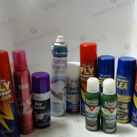 LOT OF ASSORTED ITEMS TO INCLUDE; FLY & WASP KILLER, JUMGLE FORMULA, AIR DUSTER ETC