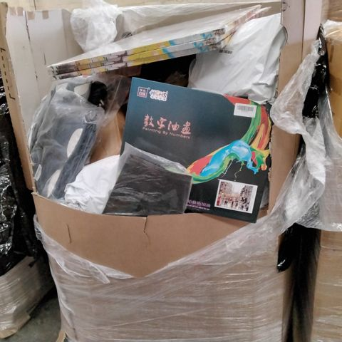 PALLET OF ASSORTED ITEMS INCLUDING, LARGE FRZMELESS CANVASS PRINTS, PAINTING BY NUMBERS KITS, BABY TRAVEL TOTE BAGS, CRYSTAL GOBLETD,